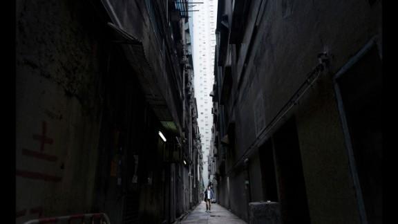 Walking between buildings in Hong Kong.