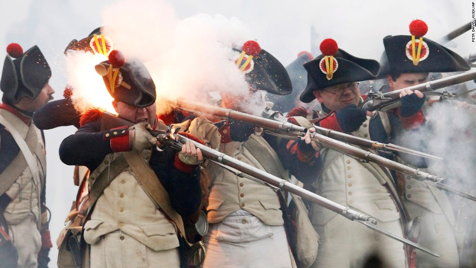 History enthusiasts take part in a re-enactment of the Battle of Austerlitz, one of Napoleon Bonaparte's famous victories, near Slavkov u Brna, Czech Republic, on Saturday, November 29.