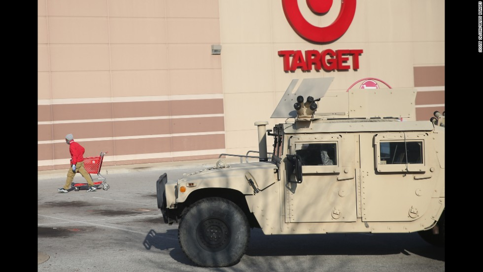 National Guard troops stand guard outside a Target store in Ferguson, Missouri, on Friday, November 28.