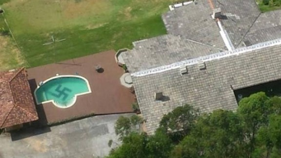 Police helicopter spots swastika in the bottom of a pool in southern Brazil