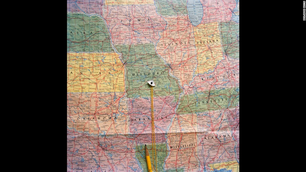 A map of the United States shows Plato's location. Photographer Benjamin Hoste has visited the town at least nine times in recent years.