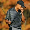 tiger woods holding nose