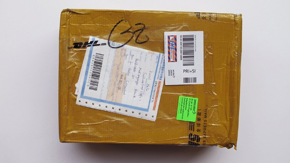 This parcel contains a pair of Nike shoes, bought from China for $75.