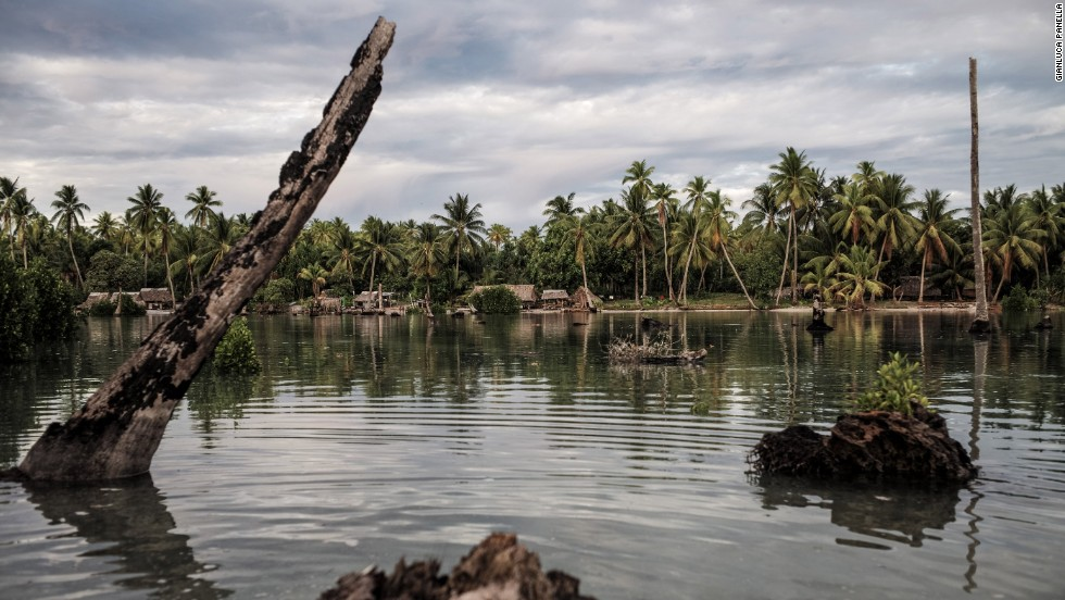 The village of Tebunginako was once a thriving harbor. Today, it lies under several meters of water. Dead coconut trees still emerge from the sea, a reminder of a time before saltwater contamination.