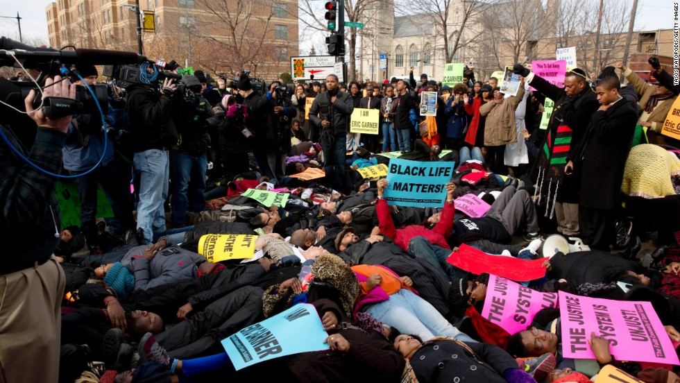 People protest in the streets of Chicago on December 7.