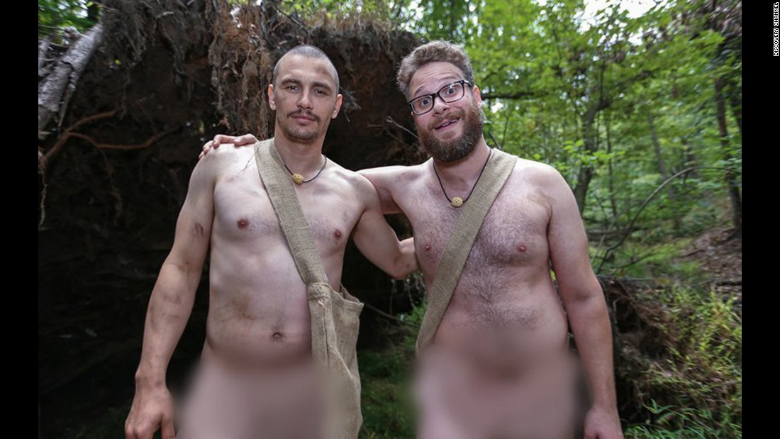 "James Franco and Seth Rogen had to survive in the wild in the altogether in an episode of Discovery's ""Naked and Afraid"" series. Franco expressed his love for being nude while Rogen asked, ""Can you make the blur big? Like a giant blur?"""