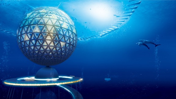 Divided into three distinctive zones, the structure will stretch all the way to the crushing black depths 2.8 miles under the sea.  A giant sphere with a diameter 500 meters (1,640 feet) situated just below the surface will form the first section and house residential zones, businesses and hotels.   Residents and visitors will enter via the upper level of the facility here.