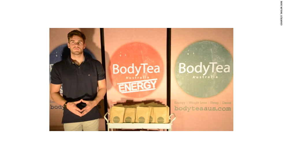 Taylor Dow left school to focus on his weight-control product, BodyTea. The 18-year-old runs his business from his office in Victoria, Australia