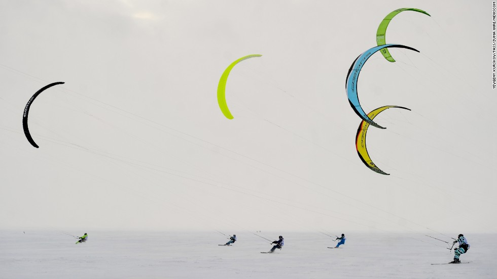 Athletes take part in the Cup of Siberia snowkiting event held Sunday, December 7, in Novosibirsk, Russia.