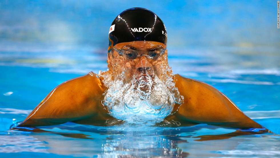 Brazilian swimmer Felipe Franca Silva competes in the 50-meter breaststroke at the FINA World Championships on Saturday, December 6. He would go on to win gold in the event.