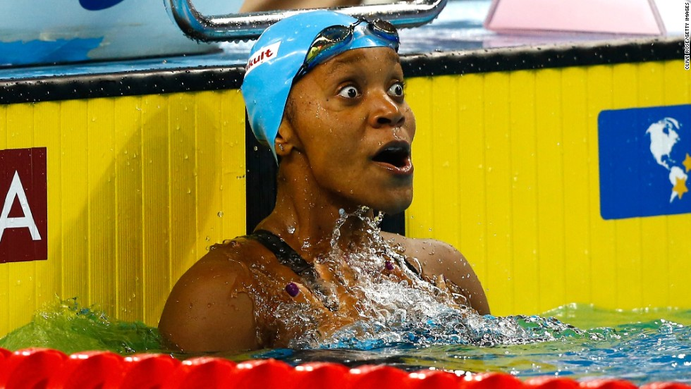 "A look of disbelief is etched on the face of Jamaican swimmer Alia Atkinson after she won the women's 100-meter breaststroke Saturday, December 6, at the FINA World Championships in Doha, Qatar. The win made her <a href=""http://www.cnn.com/2014/12/07/sport/swimming-atkinson-world-first/index.html"">the first black woman</a> to claim a swimming world title."