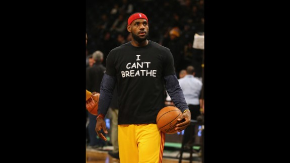 "NEW YORK, NY - DECEMBER 08:  LeBron James #23 of the Cleveland Cavaliers wears an ""I Can't Breathe"" shirt during warmups before his game against the Brooklyn Nets during their game at the Barclays Center on December 8, 2014 in New York City. NOTE TO USER: User expressly acknowledges and agrees that, by downloading and or using this photograph, User is consenting to the terms and conditions of the Getty Images License Agreement.  (Photo by Al Bello/Getty Images)"
