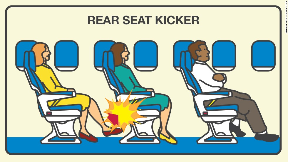 Passengers who use their feet as weapons topped Expedia's list of onboard etiquette violators in its 2015 Airplane Etiquette Study. Just over 60% of those surveyed find rear seat-kickers very annoying.