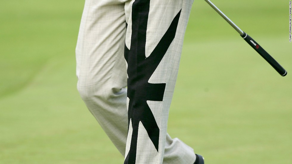 At the 2005 German Masters Pro-Am, Poulter donned these trousers featuring a black and white interpretation of the British flag.