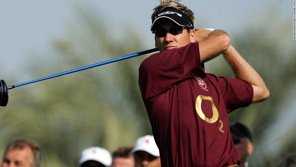 It was a whole other ball game when Poulter teed off in Abu Dhabi in 2006 wearing the shirt of his beloved football team Arsenal.