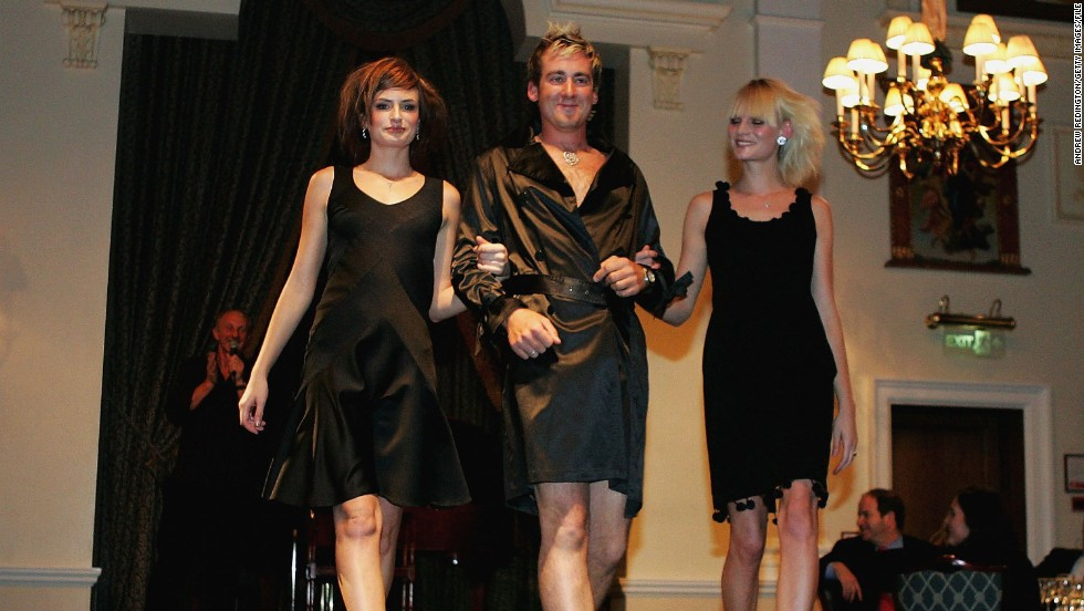 Poulter took to the catwalk wearing a black robe, and seemingly little else, at a charity event in 2004.