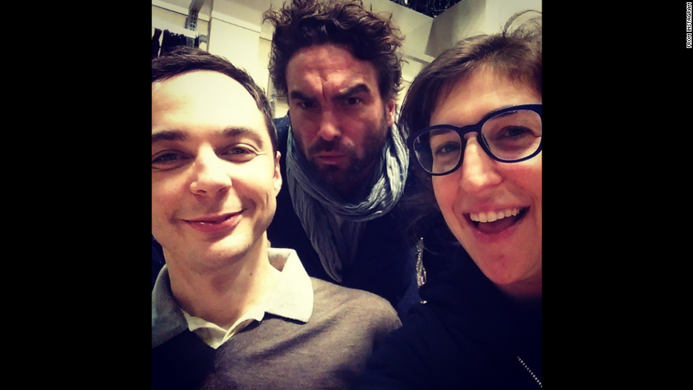 "Actress Mayim Bialik, right, posted a selfie with ""Big Bang Theory"" co-stars Jim Parsons, left, and Johnny Galecki on Friday, December 5. ""We are all good,"" <a href=""http://instagram.com/p/wPNlbjKBmk/?modal=true"" target=""_blank"">Bialik said on Instagram.</a>"