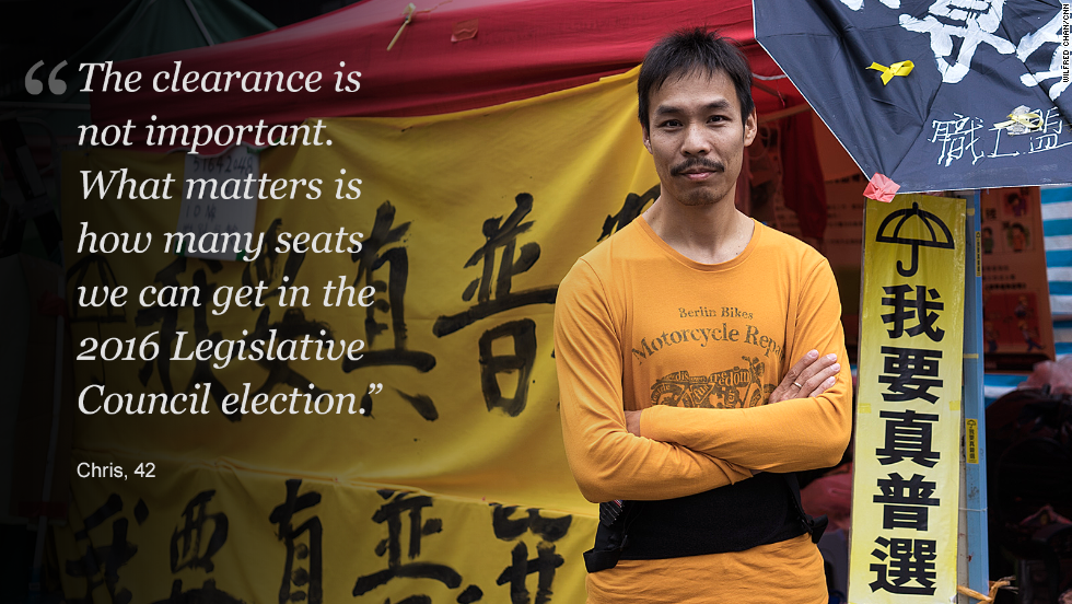 "In June 2015, Hong Kong <a href=""http://www.cnn.com/2015/06/18/asia/hong-kong-reform-vote/"">lawmakers rejected a Beijing-backed bill </a>that would have allowed Hong Kongers to vote for their next leader, from an approved list. Pro-democracy legislator Albert Chan, who voted against the bill, called the result a ""victory."" ""We do not want to have a fake democratic system in Hong Kong,"" he told CNN. <br /><br />Democracy campaigners are setting their eyes on the Legislative Council elections in 2016."