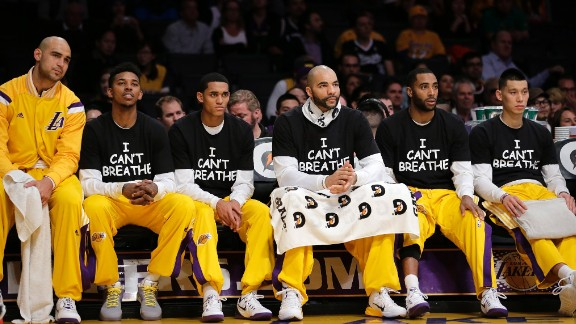 Wearing the shirts from left are Lakers Nick Young, Jordan Clarkson, Carlos Boozer, Wayne Ellington and Jeremy Lin.