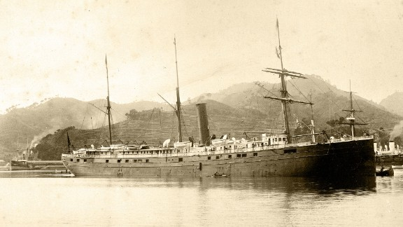 The SS City of Rio de Janeiro, which transported passengers and cargo between Asia and San Francisco, has been found in 287 feet of water in the San Francisco Bay. The ship sank in 1901 after running into jagged rocks near where the Golden Gate Bridge now stands. The ship is shown here in an 1894 photo taken in Nagasaki, Japan.