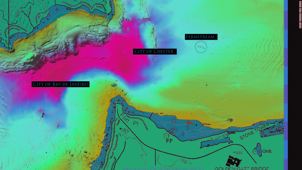 "The SS City of Rio de Janeiro shipwreck is just one of a number of shipwrecks in the San Francisco Bay Area. It's shown here in a multi-beam sonar image of San Francisco's Golden Gate area along with the <a href=""http://sanctuaries.noaa.gov/shipwrecks/city-of-chester/"" target=""_blank"">SS City of Chester</a> and <a href=""http://sanctuaries.noaa.gov/shipwrecks/fernstream/"" target=""_blank"">MV Fernstream.</a>"