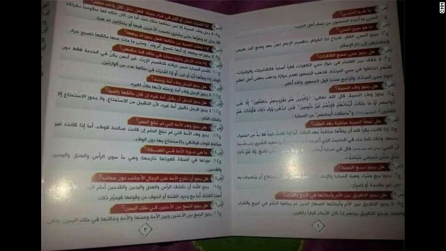Armed men distributed this pamphlet Friday to worshipers in Mosul, outlining what's permissible to do with non-Muslim captives.