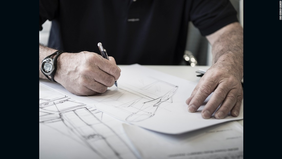 Dirk Kramers sketches some designs for Ben Ainslie Racing. He also uses an iPad.