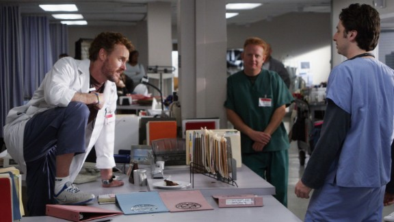 """John C. McGinley and Zach Braff work on the set of """"Scrubs"""" at the old North Hollywood Medical Center on January 17, 2006 in North Hollywood, California."""