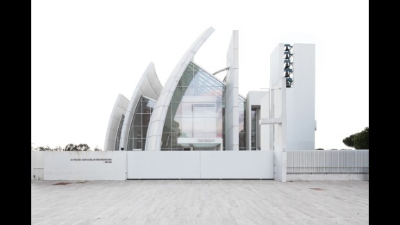 The Jubilee Church in Rome was designed by Richard Meier. Perched like a white pearl amid tired tower blocks and parking lots, the church is simple and reflects light like other Meier buildings.