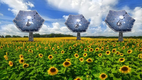 The Sunflower Solar Harvester, being developed by the Swiss company Airlight Energy, tracks the sun like a sunflower and cools itself by pumping water through its veins like a plant. In the process, it produces heat, desalinated water, and refrigeration from the 12kW of energy it produces with just 10 hours of sunlight.