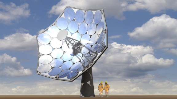 At the core of the technology are IBM-designed water-cooled solar panels whose microchannels carry away the heat produced by the reflector mirrors. The flower-like array of reflectors concentrate the sun's energy more than 2000 times onto the six panels which each hold 25 photovoltaic chips.
