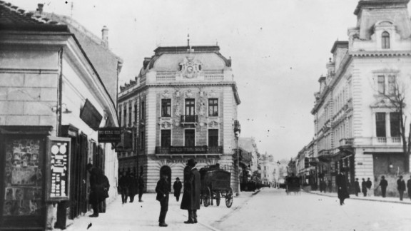 A main street in Belgrade during World War I, circa 1914.