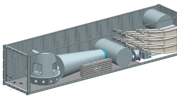 An artist's impression shows how the components could be packed into a shipping container and transported to off-grid locations.