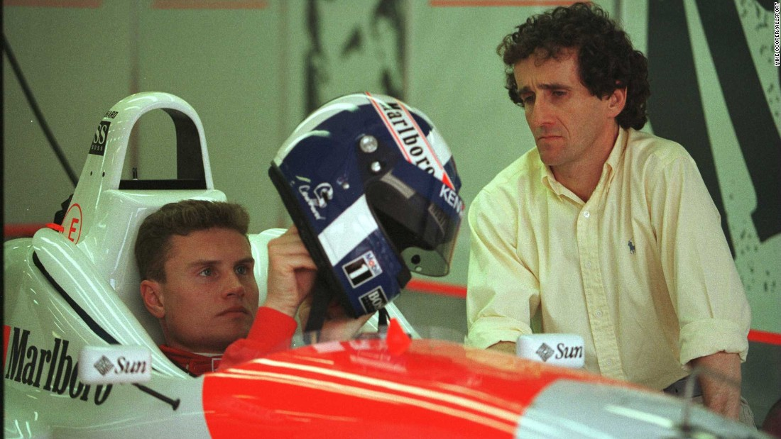 Coulthard, seen here with Prost, has likened the role to that of a sponge, taking in every facet of information possible to be prepared for the full-time race role.