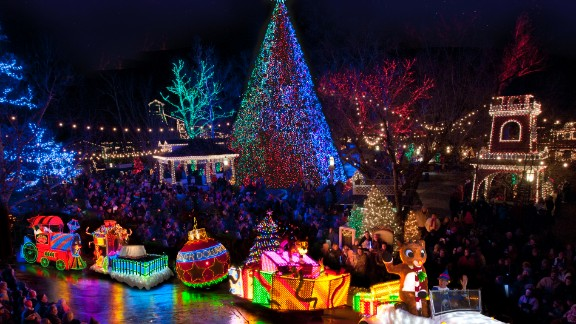 An Old Time Christmas in Branson, Missouri, is home to the 5-Story Special Effects Christmas Tree that features 350,000 LEDs synchronized with Christmas music.