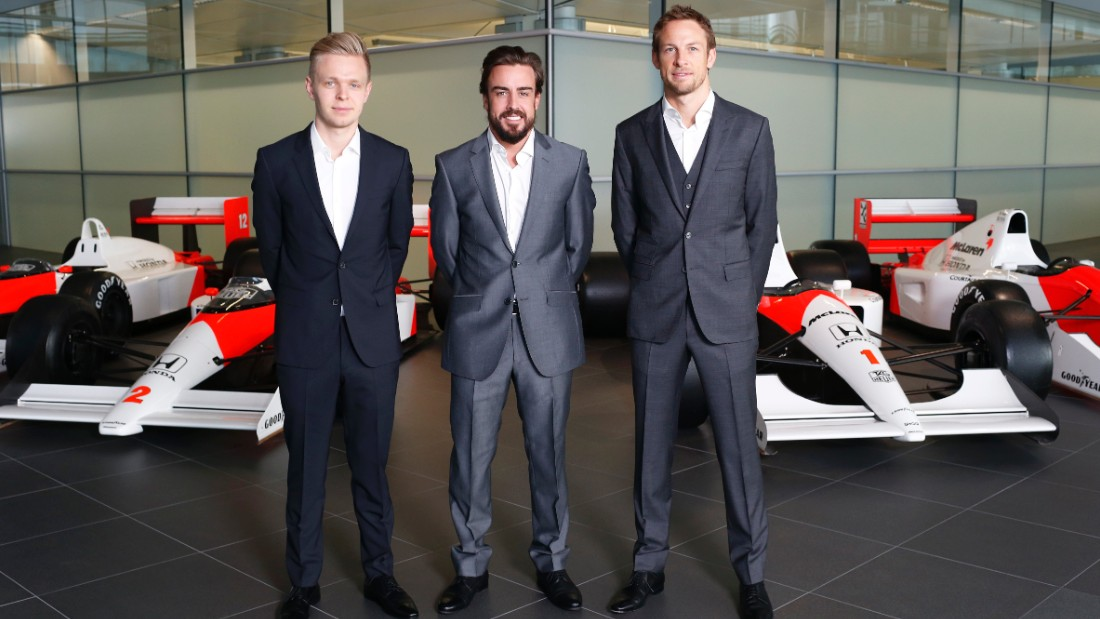 Kevin Magnussen (left) has taken a step back from race driver to reserve behind Fernando Alonso and Jenson Button at McLaren in 2015.