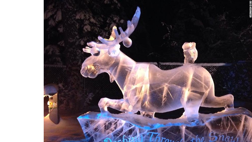 For the past decade, residents of North Pole, Alaska, have hosted the six-week Christmas on Ice festival, combining lights with intricate ice sculptures.