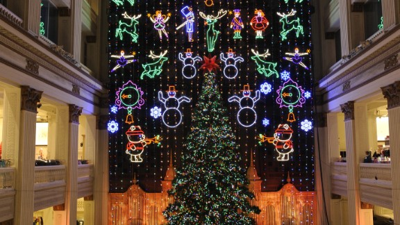 Macy's Christmas Light Show in Philadelphia has a Magic Christmas Tree and 100,000+ LEDs behind a four-story velvet curtain that tell a story with reindeer, toy soldiers and ballerinas.