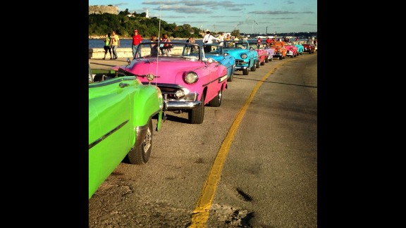 """CNN's Patrick Oppmann loves to capture """"Cuba moments"""" with his camera, including this Instagram post of """"a row of classic cars rented for a wedding lined up on the malecon (Havana's famous highway and seawall)."""" Oppmann, the only U.S.  television correspondent based in Cuba, has lived on the Caribbean island for three years.  Check out some of his favorite images or follow him on Instagram:"""