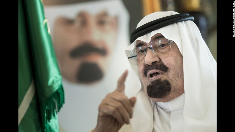 Saudi Arabia's King Abdullah bin Abdulaziz al Saud speaks at his private residence in Jeddah, Saudi Arabia, in June. The King has died, according to an announcement on Saudi state TV. He was 90.