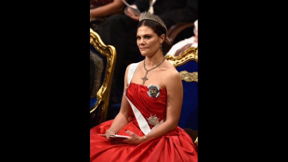 Crown Princess Victoria of Sweden attends the Nobel Prize Awards Ceremony at Concert Hall  on December 10, 2014, in Stockholm. Princess Victoria is heir to the throne held by her father.