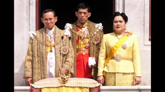 The Thai royal family,  (L to R) King Bhumibol Adulyadej,left, Crown Prince Maha Vajiralongkorn, center, and Queen Sirikit in 1999.