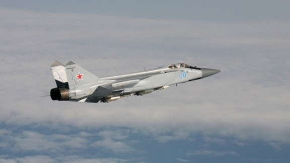 An armed MiG-31 intercepted by Norwegian planes. The plane is nicknamed the Foxhound by NATO.