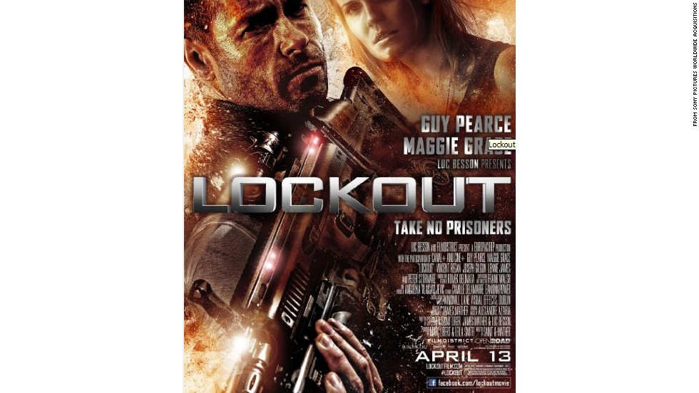 """Lockout"" (2012), a sci-fi thriller starring Guy Pearce and Maggie Grace."