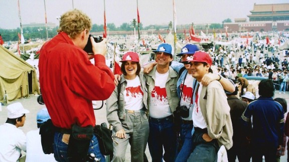 TIME magazine's reporting team in Tiananmen Square just days before the June, 4, 1989 crackdown. FlorCruz is far right.