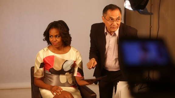 FlorCruz helps get First Lady Michelle Obama ready for an interview earlier this year.