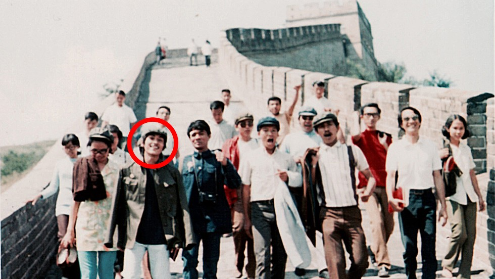 CNN's Beijing bureau chief Jaime FlorCruz has been living and working in China for four decades. Here he is on a visit to the Great Wall, front left with white jeans, in 1971 when he first arrived in China as a student leader on a study tour.
