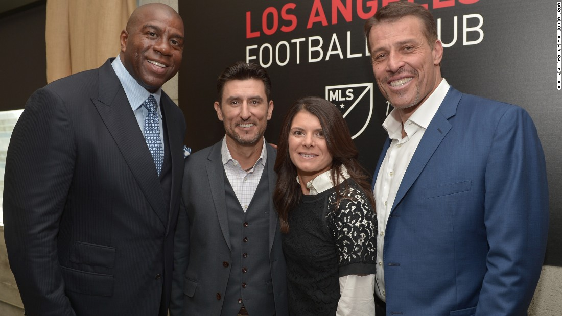 "She is now part of an all-star ownership team at Los Angeles Football Club. One of her fellow minority owners is NBA legend ""Magic"" Johnson.<br /><br />.<br />"