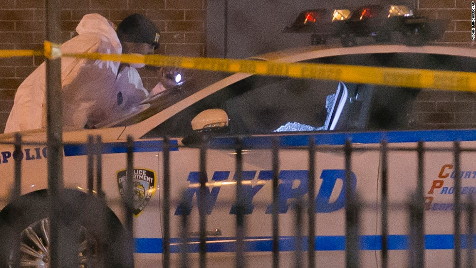The shooter was found dead in a nearby subway station from a self-inflicted gunshot wound, officials said. The shooter, identified as Ismaaiyl Brinsley, arrived in New York from Baltimore, police said.