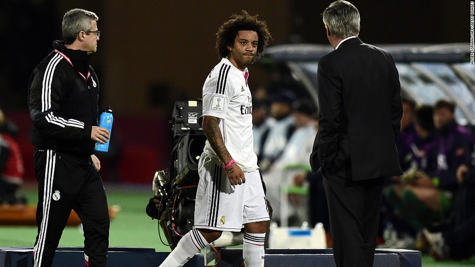 There are concerns for Real Madrid when Brazilian defender Marcelo limps off during the first half.